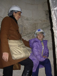 Kika and Paco heading up the belltower